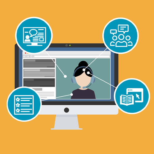 Piirretty kuva, jossa tietokoneen näyttö ja siinä video ihmisestä pyörimässä.